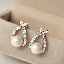 Earrings (crystal & pearl)